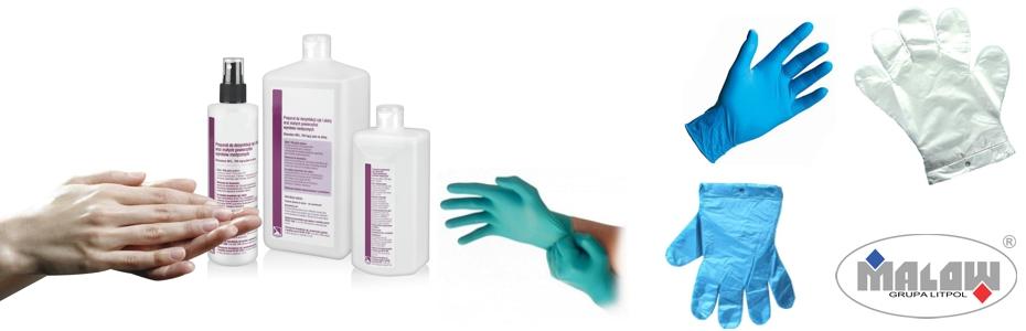 Stojak na rękawice i płyn do dezynfekcji